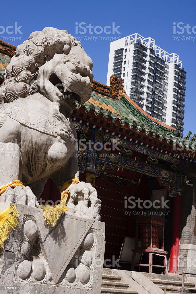 Stone lions of the temple gate royalty-free stock photo