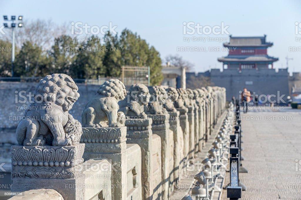 Stone Lions on the Beijing Marco Polo Bridge stock photo