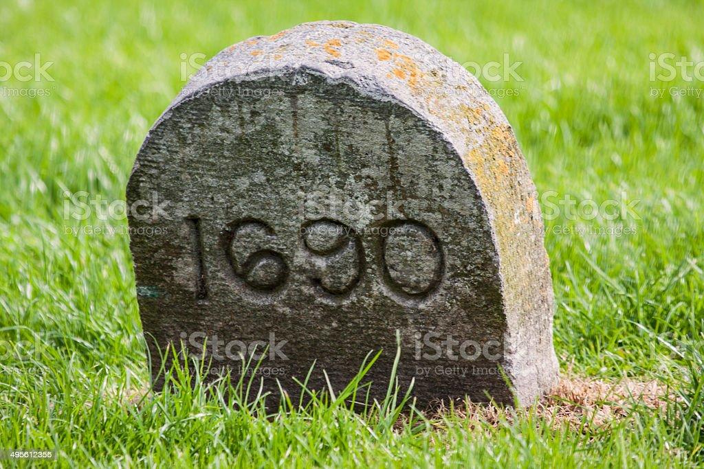 stone marker Battle of the Boyne Visitor centre stock photo