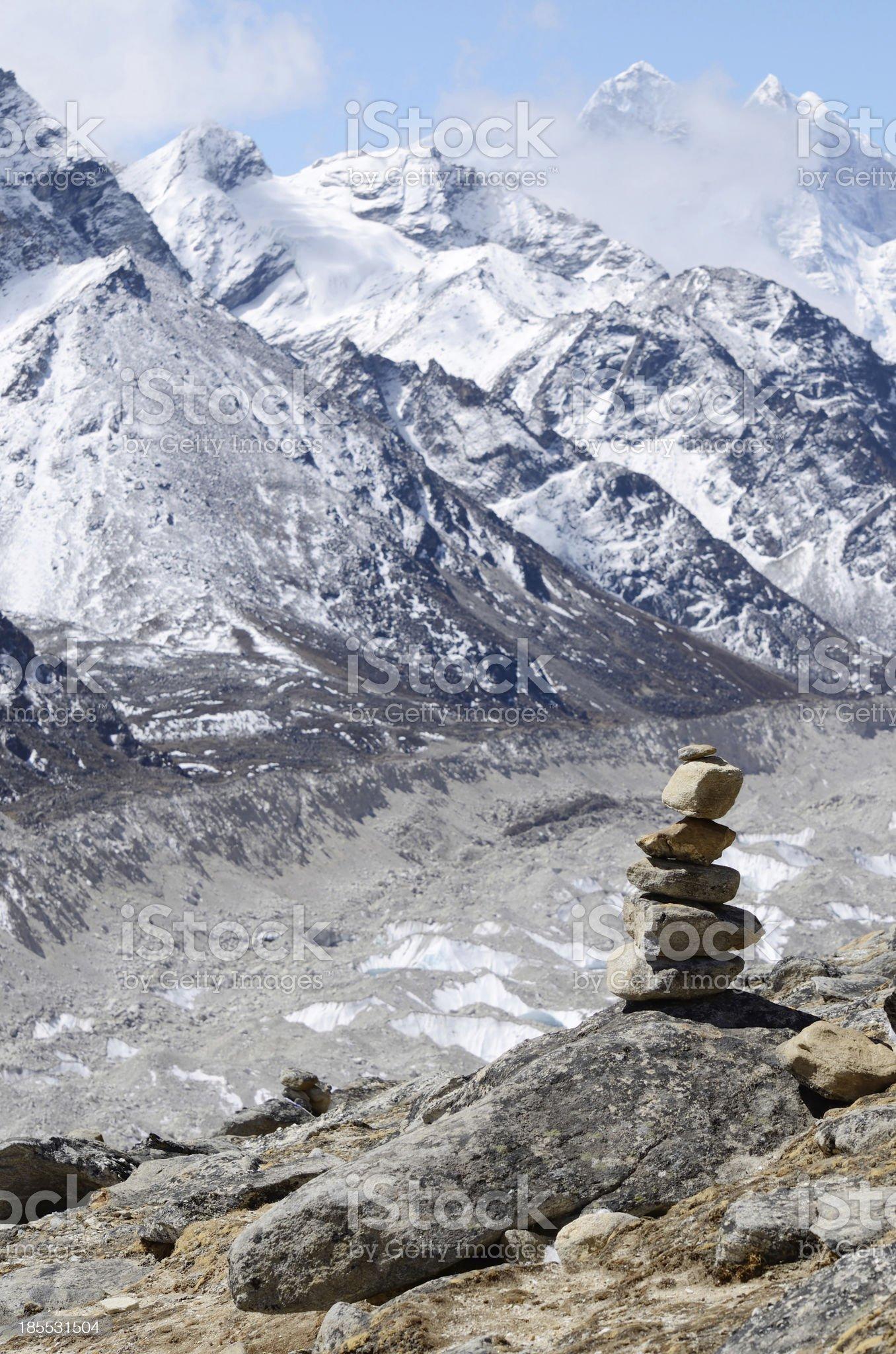 Stone marker in Khumbu region,Himalayas,Nepal royalty-free stock photo