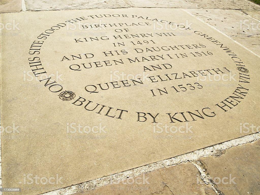 Stone marking the Tudor Palace of Greenwich royalty-free stock photo