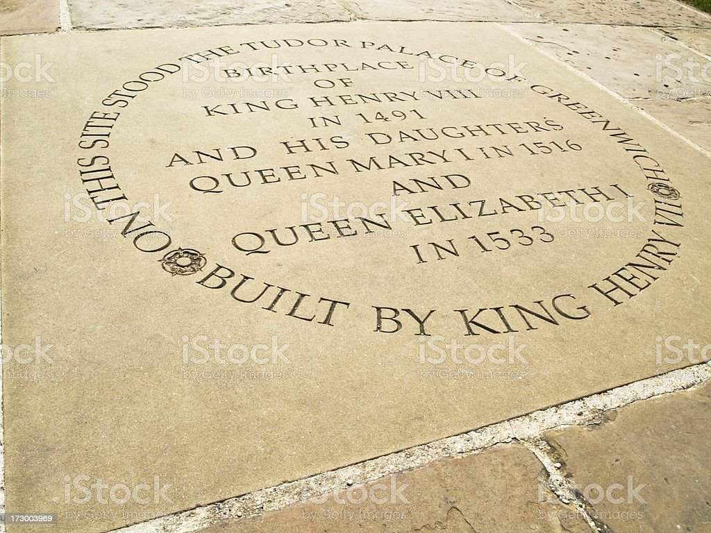 Stone marking the Tudor Palace of Greenwich stock photo