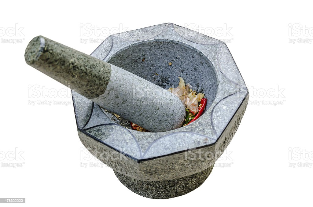 Stone mortar and pestle on isolated background royalty-free stock photo