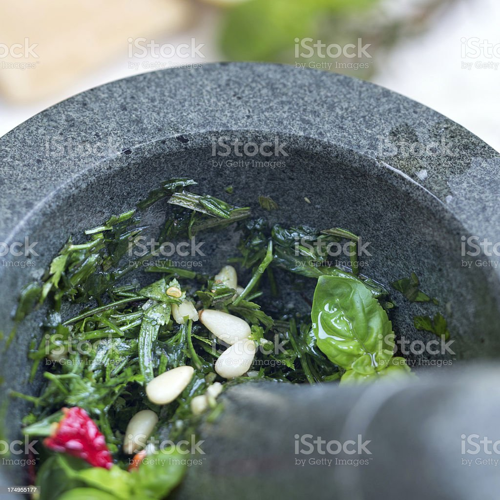 Stone Mortar with herbes royalty-free stock photo