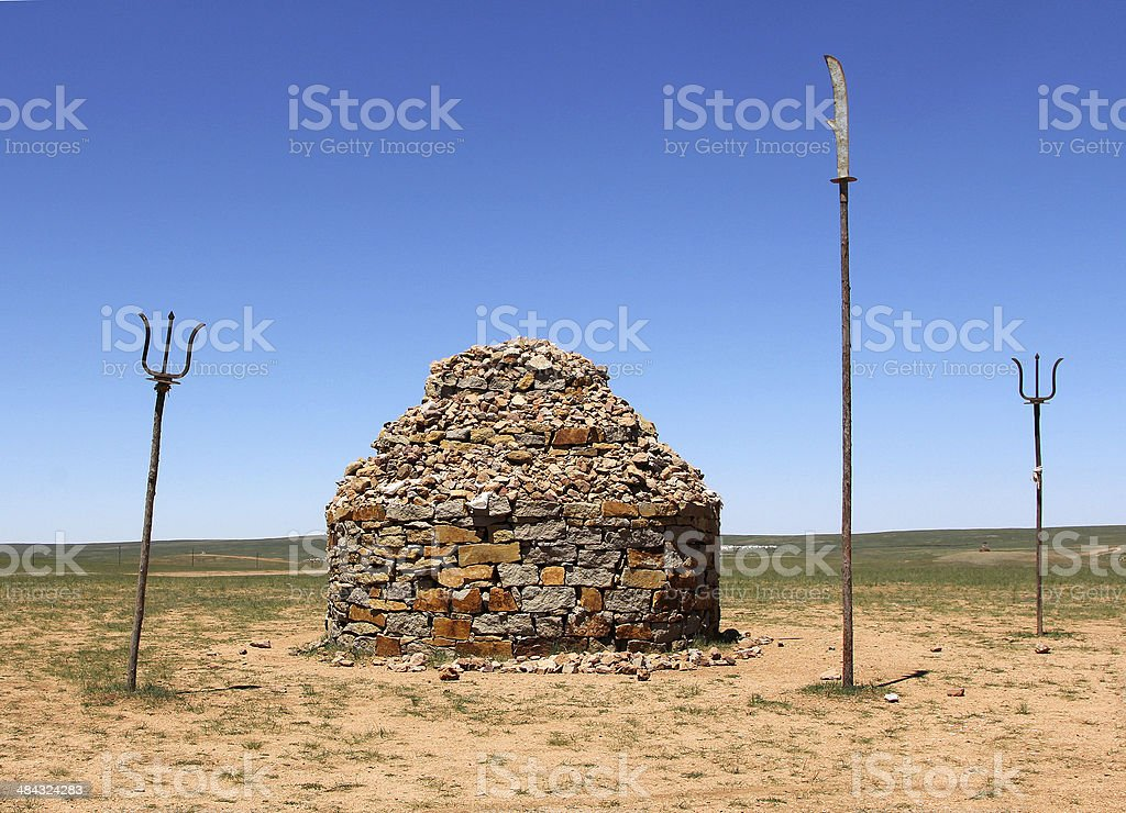 stone mound in steppe of Inner Mongolia stock photo