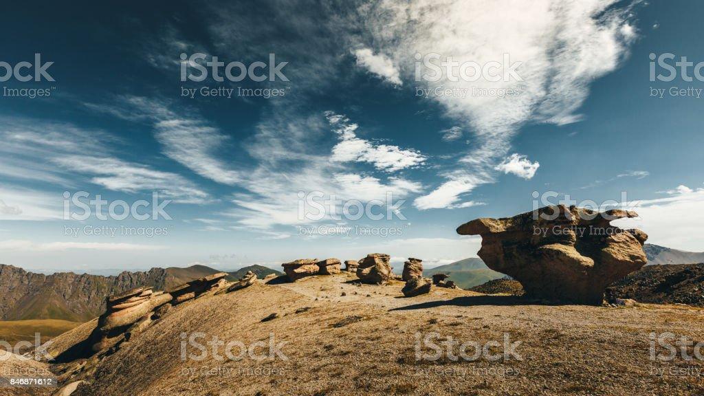 Stone Mushrooms In Summer Elbrus Region National Park. Outdoor Leisure Concept stock photo