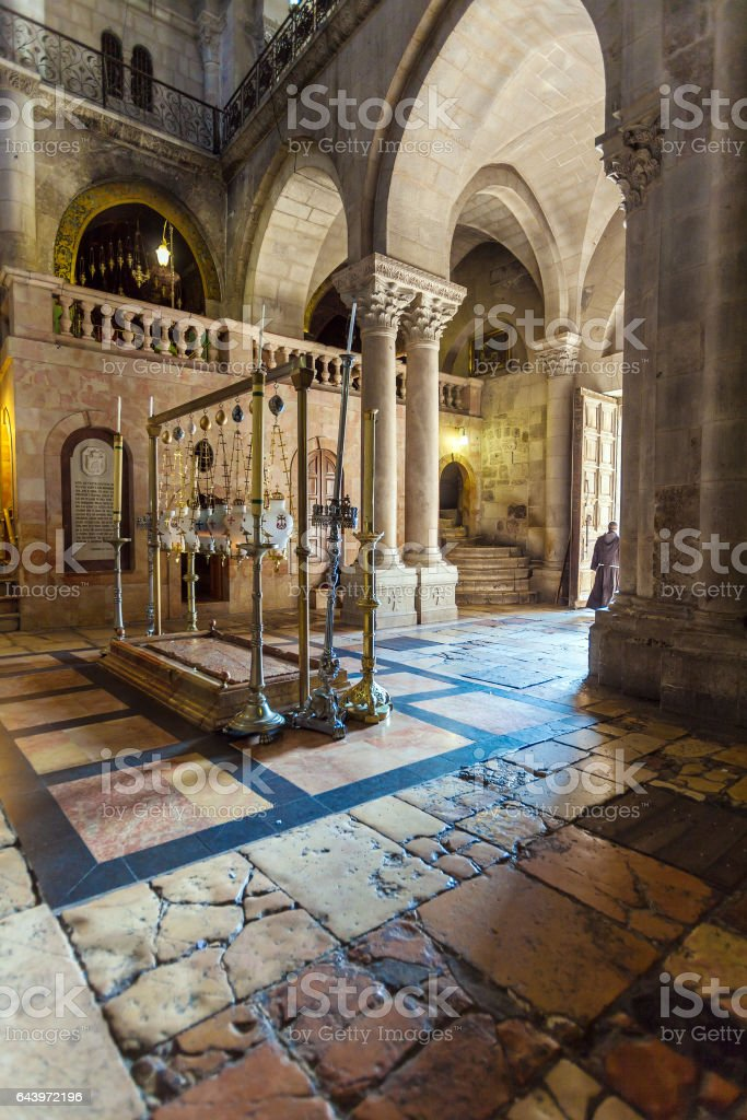 Stone of Unction, Temple of the Holy Sepulcher in Jerusalem stock photo