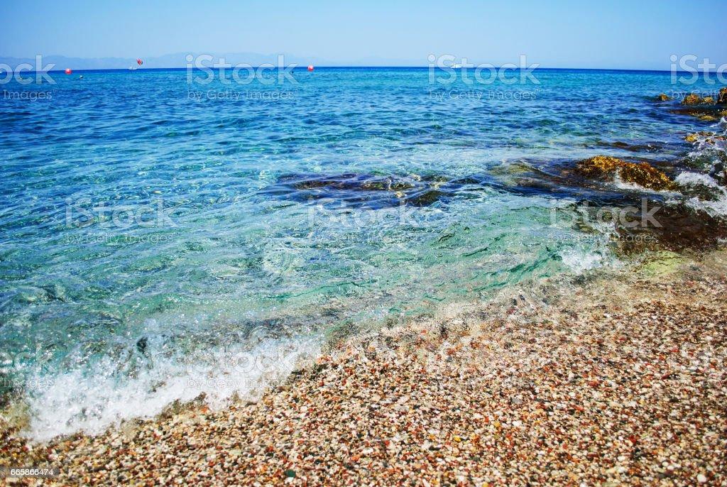 Stone on the sea coast stock photo