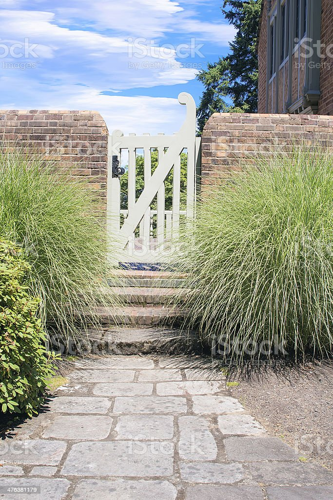 Stone Path to Garden Gate royalty-free stock photo