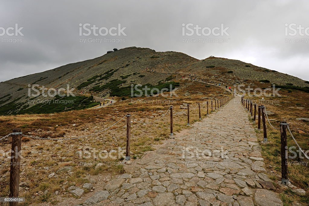 Stone path to Snezka stock photo