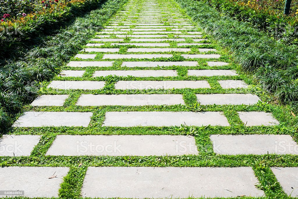 Stone pathway in the garden stock photo
