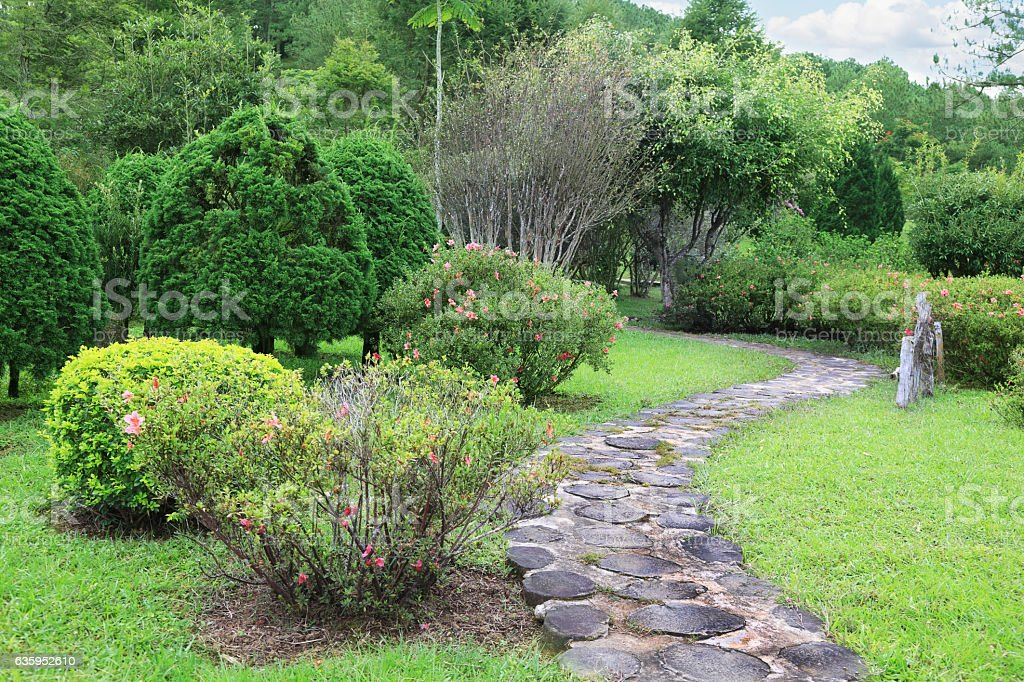 Stone pathway in the park stock photo