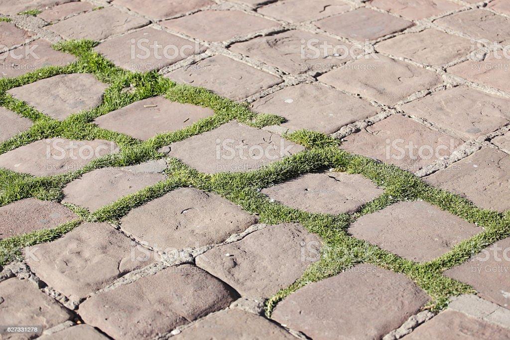 Stone pavement pattern of an urban street stock photo