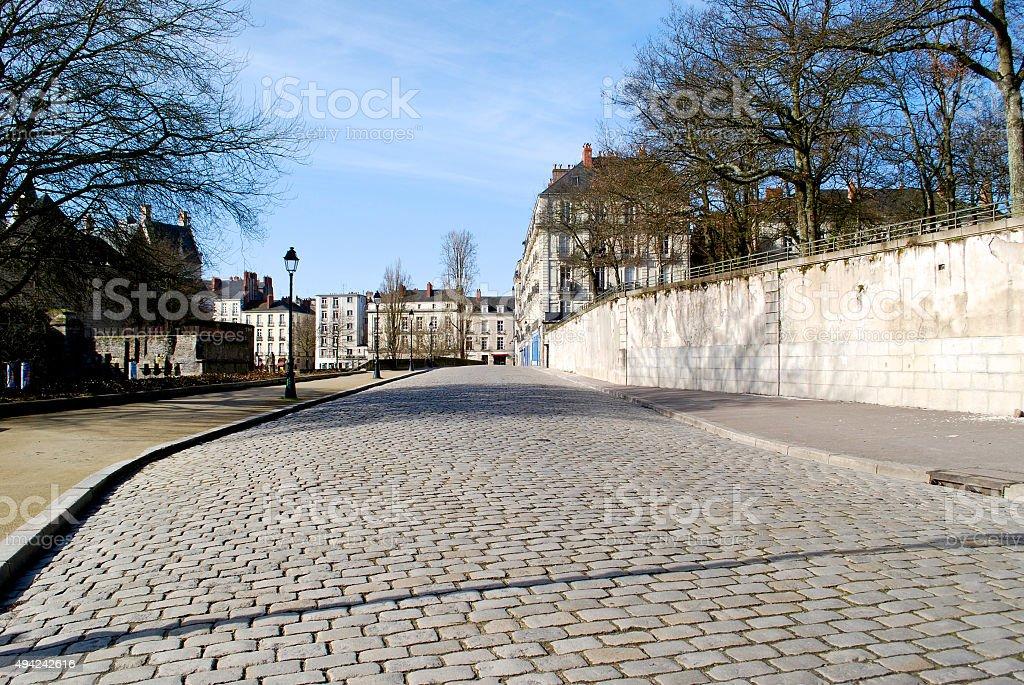 Stone paving in Nantes stock photo