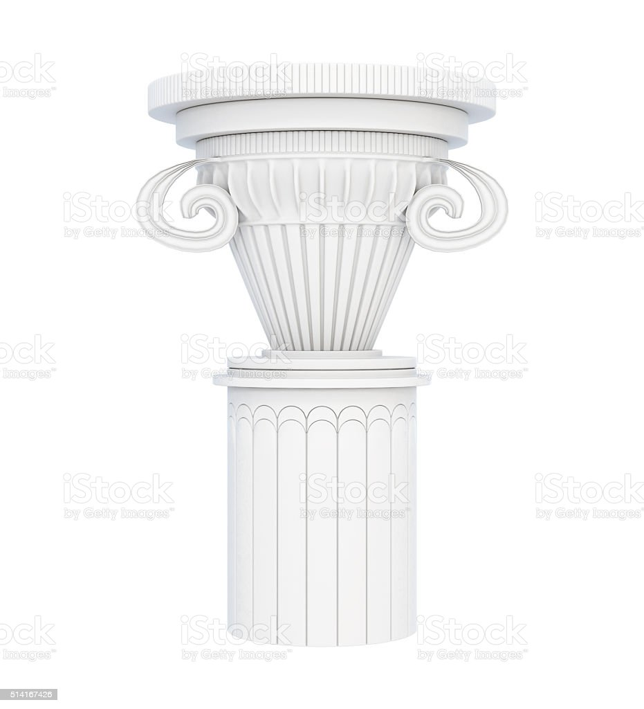 Stone pedestal isolated on white background. 3d rendering stock photo
