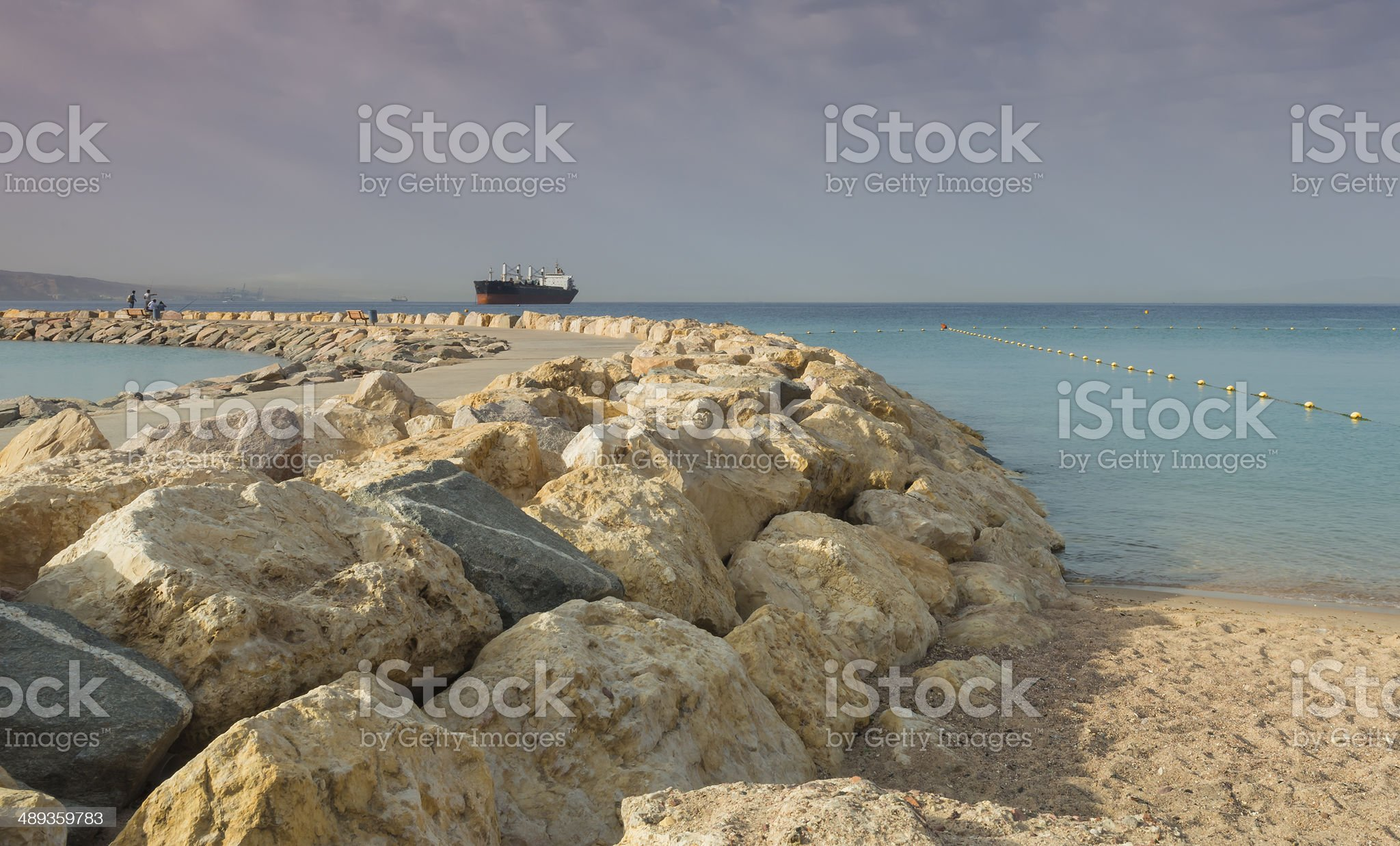 Stone pier in the Red Sea near Eilat, Israel royalty-free stock photo