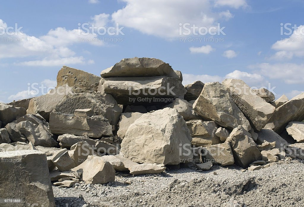 stone pile at summer time stock photo