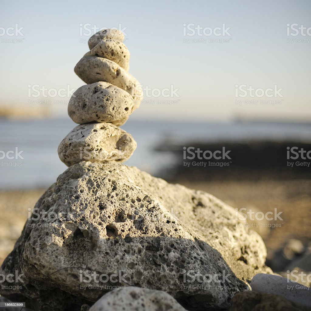 Stone Pile by the Sea royalty-free stock photo