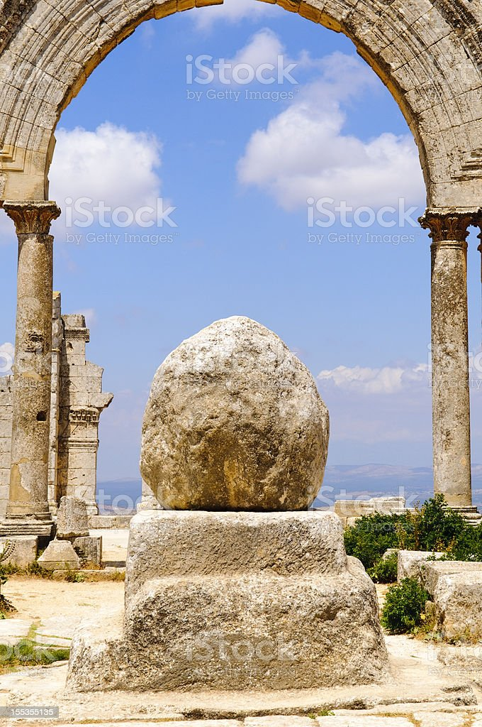 Stone pillar of Simeon the Stylite in Syria stock photo