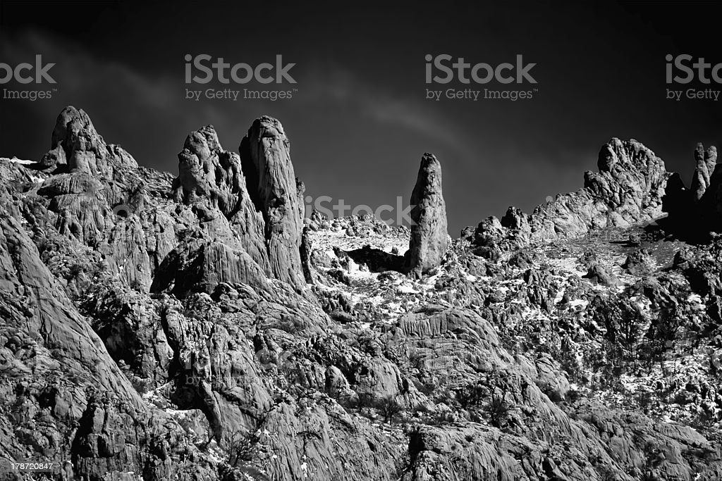 Stone planet surface black and white stock photo