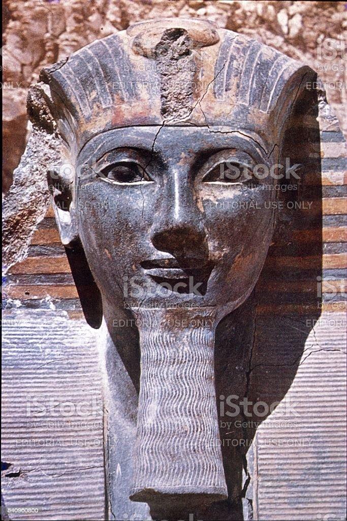 Stone portrait of a pharaoh, Egypt stock photo