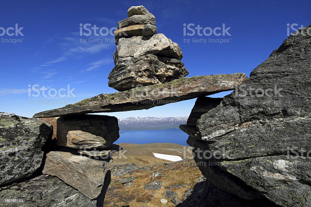 Stone pyramid, Abisko, Sweden royalty-free stock photo