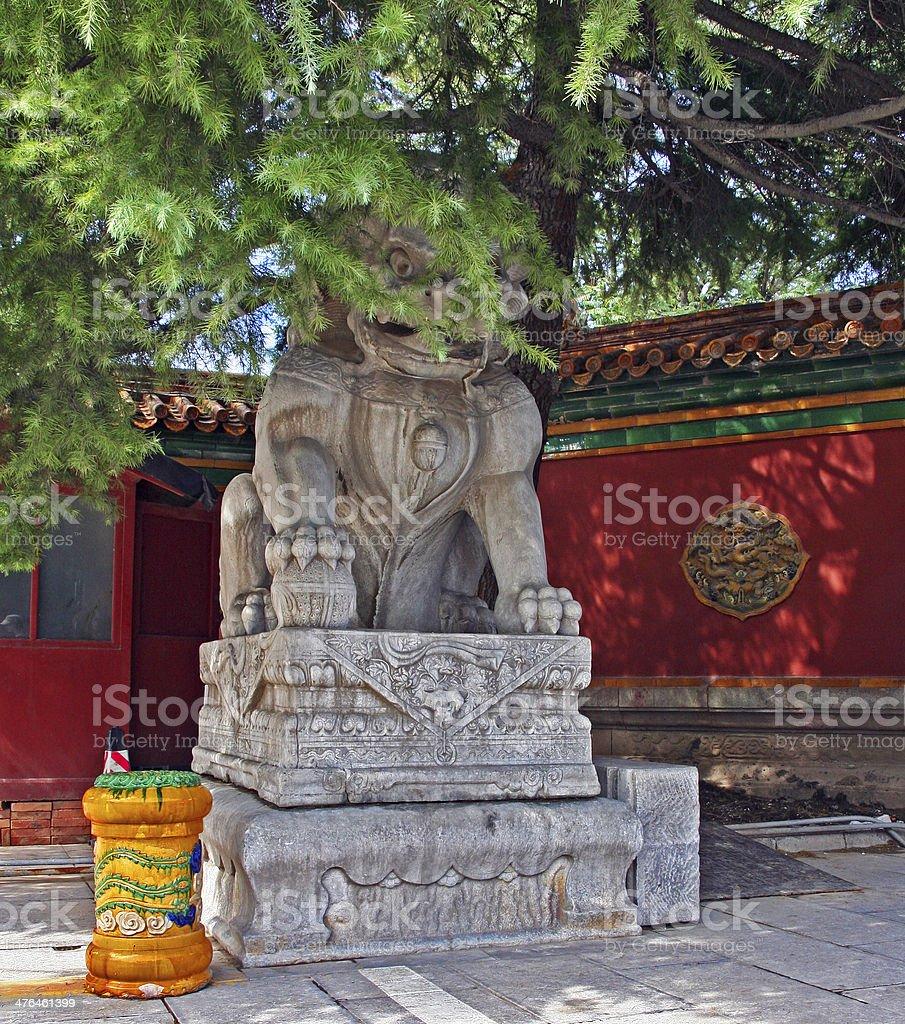 Stone Qilin statue at Lama temple, Beijing royalty-free stock photo