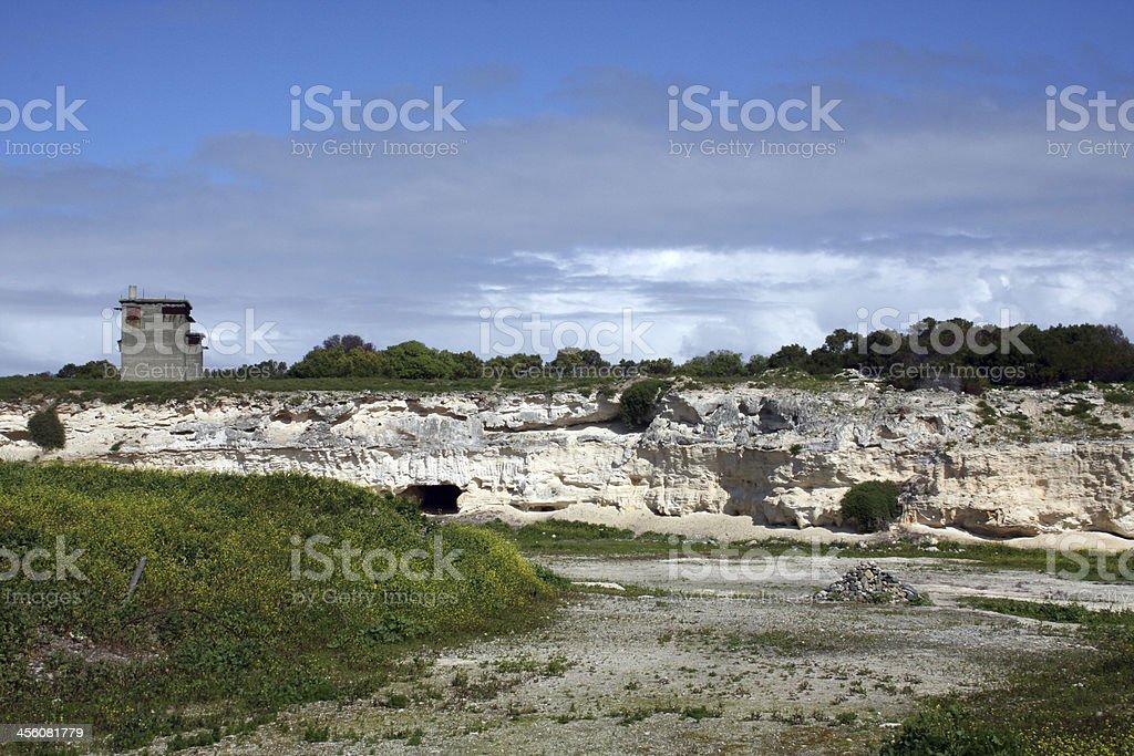 Stone Quarry on Robben Island stock photo