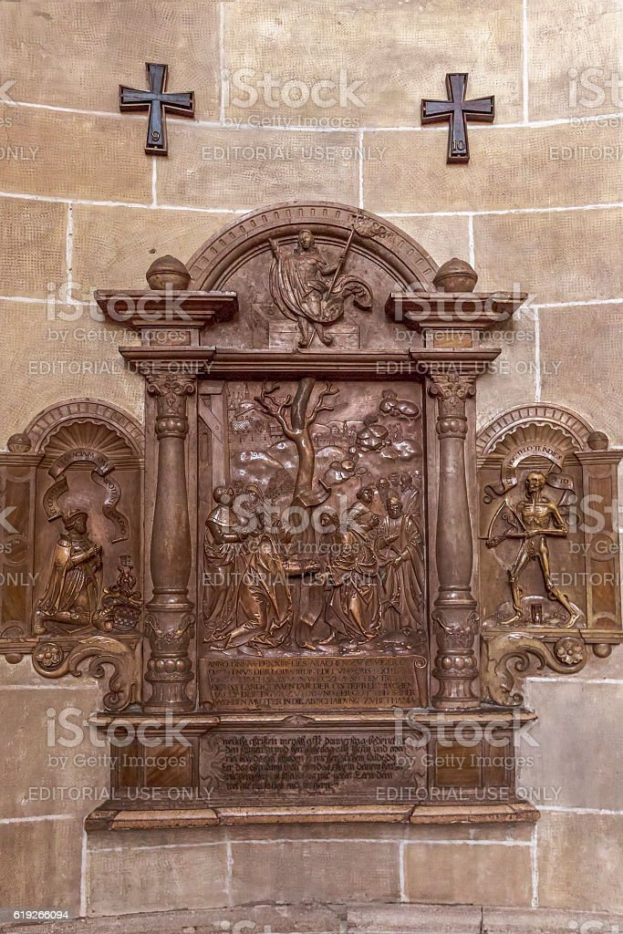 Stone relief in the Church of Teutonic Order  in Vienna. stock photo
