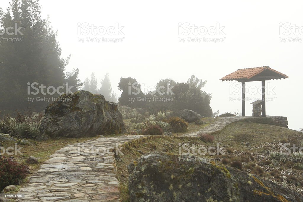 Stone Road to a View Point at Mucubaji stock photo