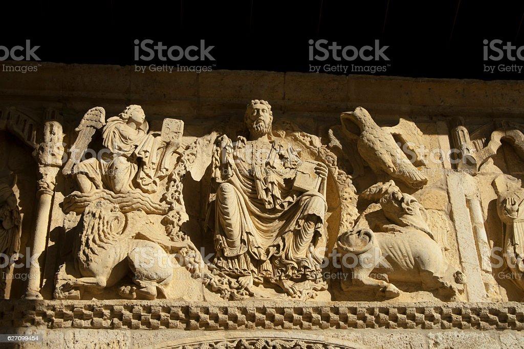 stone romanesque pantocrator stock photo