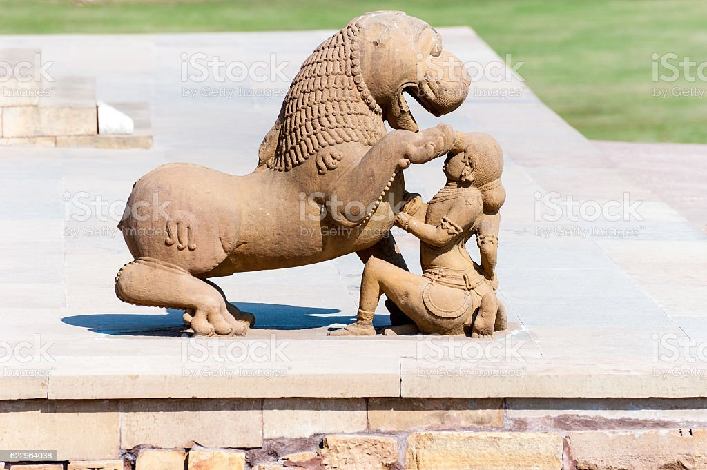 Stone sculpture in Hindu temple in Khajuraho, India stock photo