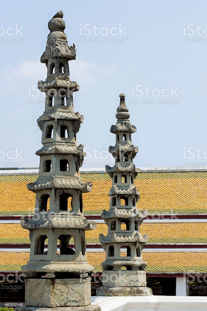 stone Sculpture in Thailand temple royalty-free stock photo