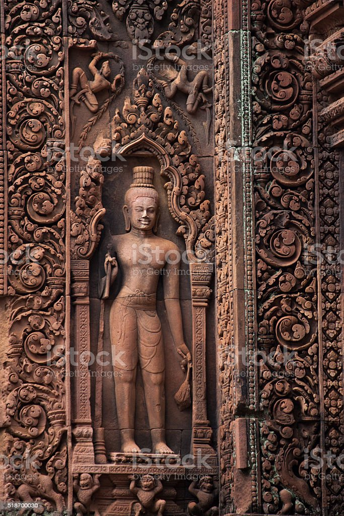 Stone Sculpture of Banteay Srei Temple stock photo