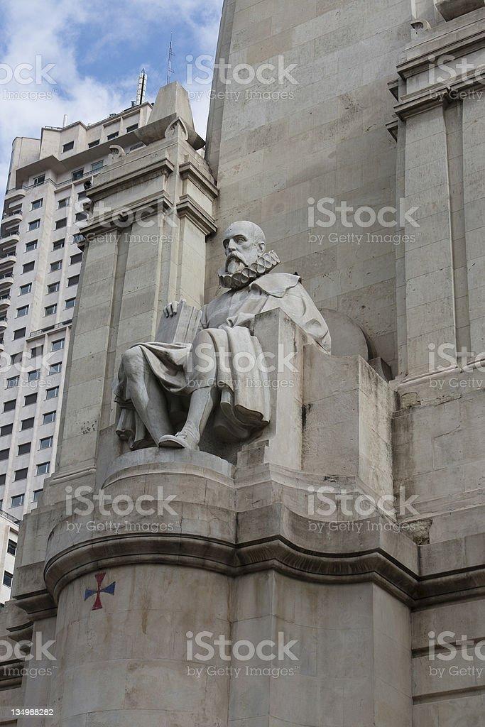 Stone sculpture of Miguel de Cervantes stock photo