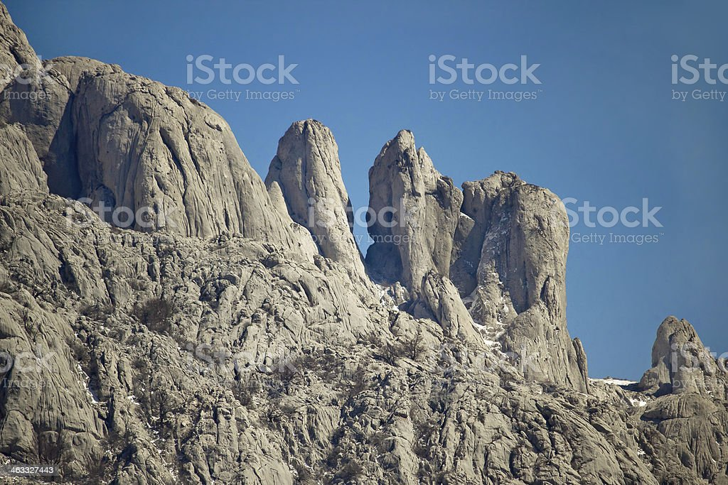 Stone sculptures of Velebit mountain stock photo
