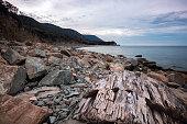 Stone sea coast in the morning.