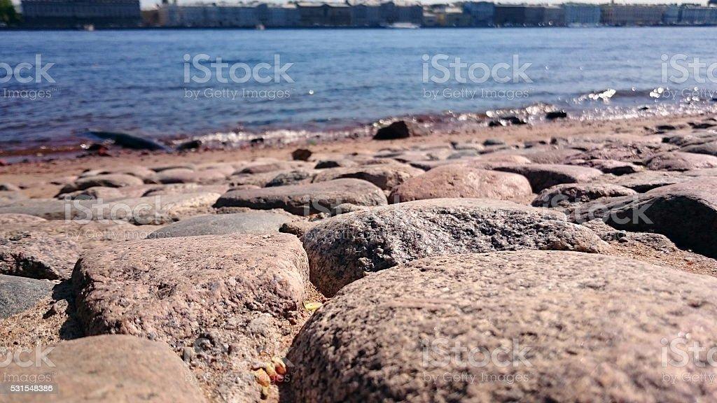 Stone seafront stock photo