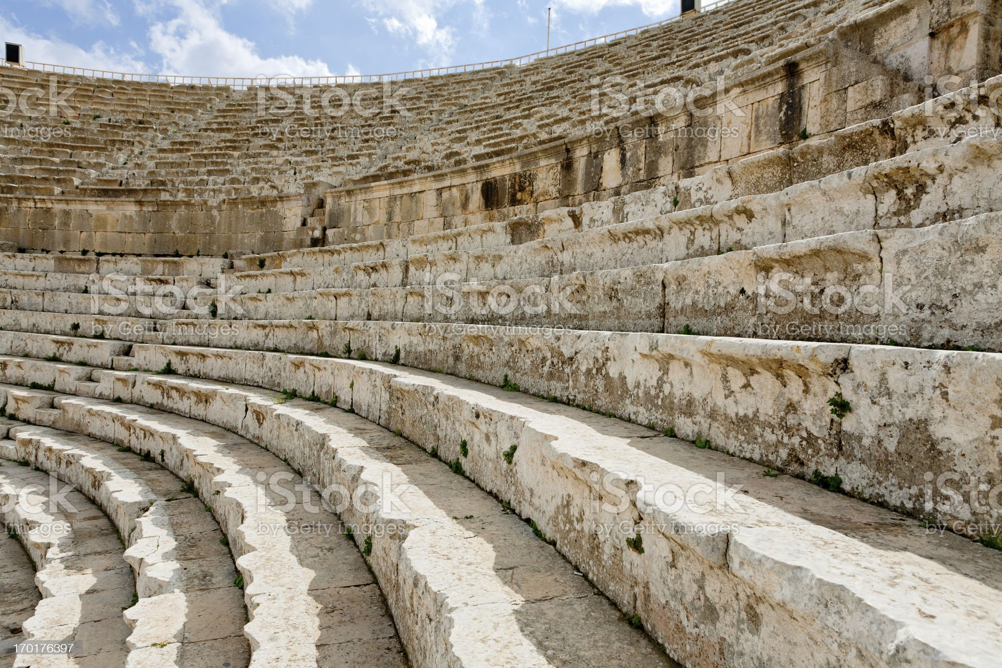 stone seats in antique Large South Theatre , Jerash royalty-free stock photo