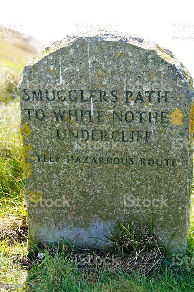 Stone sign on Jurassic Coast, Dorset stock photo