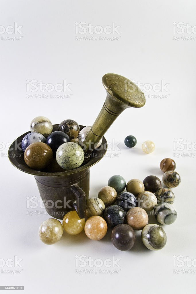 Stone spheres, mortar and pestle royalty-free stock photo