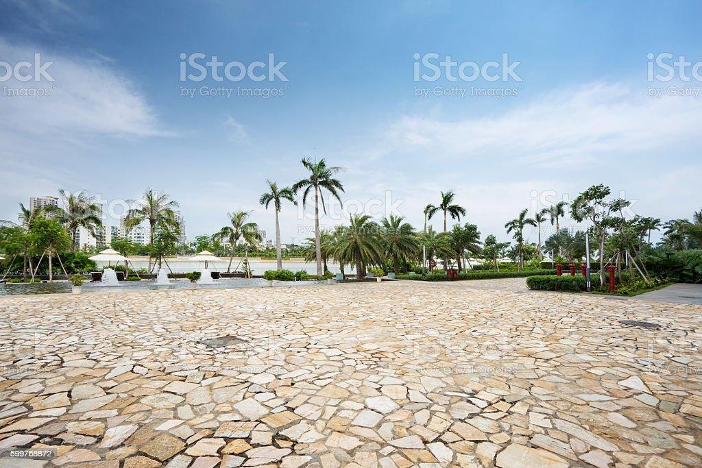 Stone square of city park in zhuhai city,china stock photo