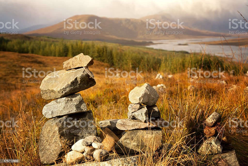 Stone stacks in the Highlands stock photo