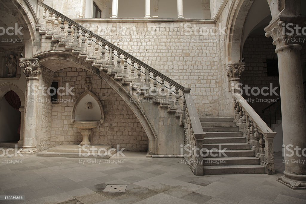 Stone staircase and courtyard. royalty-free stock photo