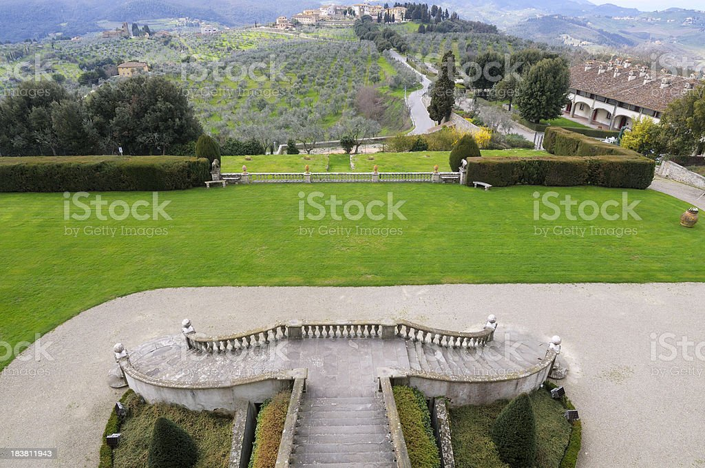 Stone Staircase and Garden in Ancient Villa,Tuscany royalty-free stock photo