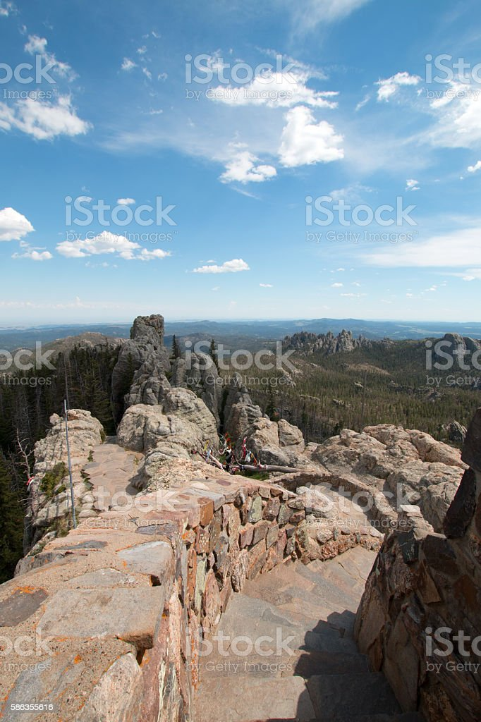 Stone staircase on Harney Peak Lookout Tower Custer State Park stock photo