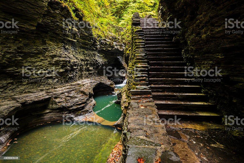 XXXL: Stone stairs along a gorge trail stock photo