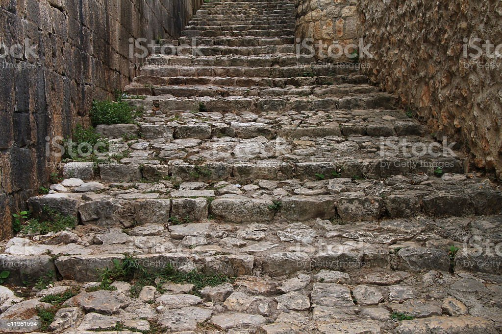 Stone stairs in the old town Pocitelj , Bosnia and Herzegovina stock photo