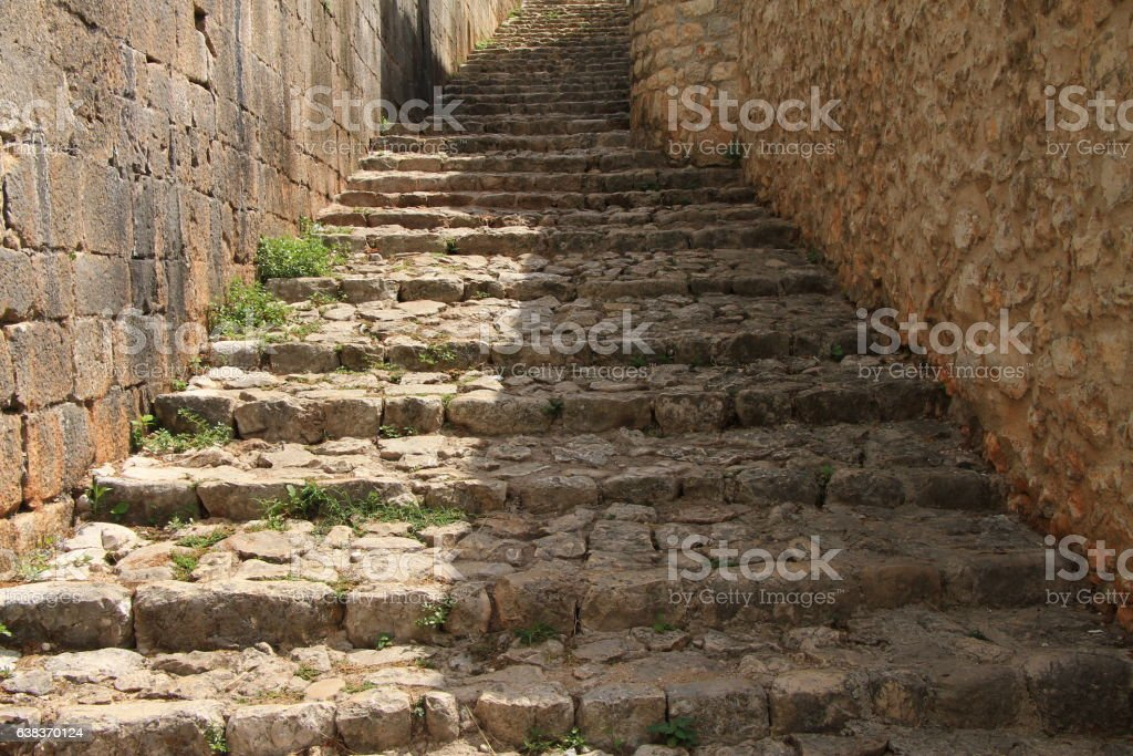 Stone stairs in the old town Pocitelj near the Mostar stock photo