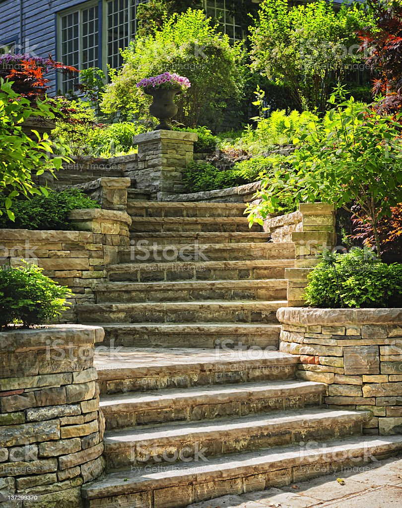 Stone stairs landscaping stock photo